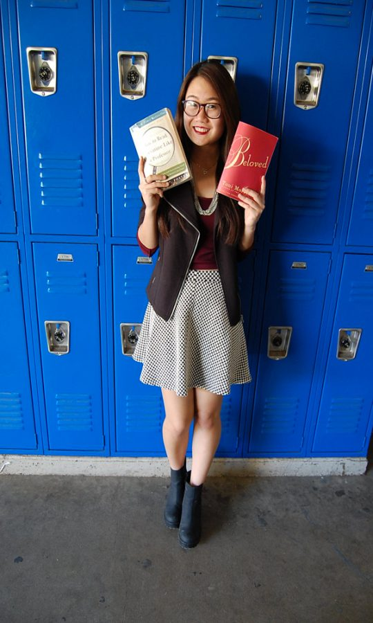Stylish Intellect: While holding Beloved, and How to Read Literature Like A Professor, both of which are college level books, Liem's sense of style is still apparent.