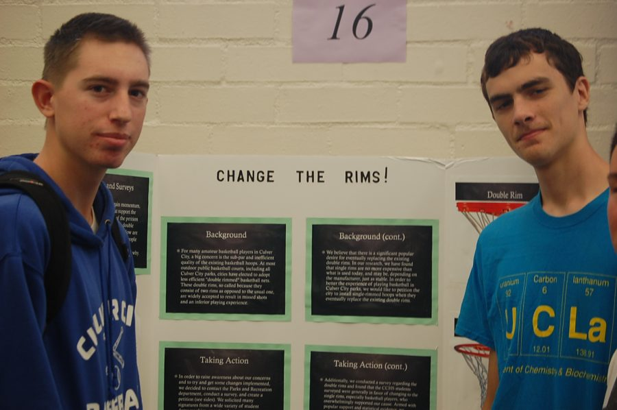 Eli Bowie and Ray Clubb show their civics project.