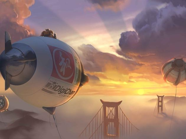 Baymax and Hiro fly into the sunset of their San Francisco home.
