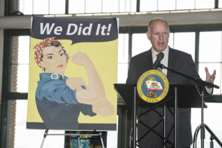 Governor Jerry Brown discussing the Equal Pay Act he recently signed into action.