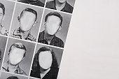 Faceless yearbook photos.