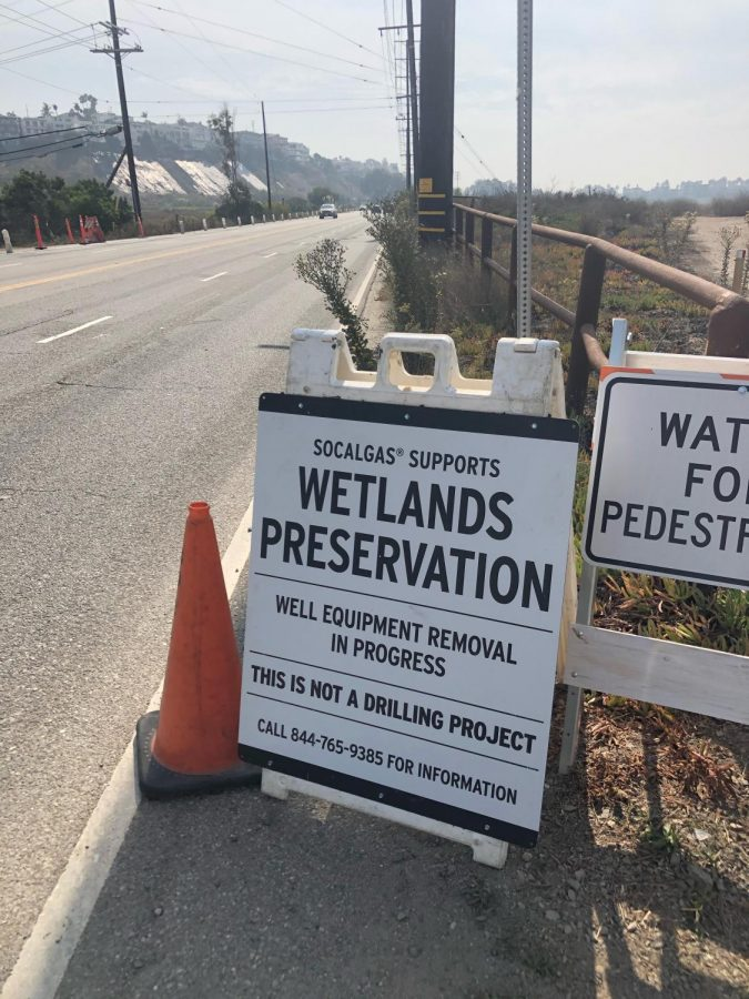 Sign nearby the wetlands that protects SoCal Gas territory at the wetlands as it's