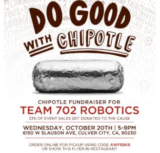 Robotics Chipotle Fundraiser on the 20th!